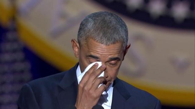 奥巴马谈及家人落泪:你们让我骄傲