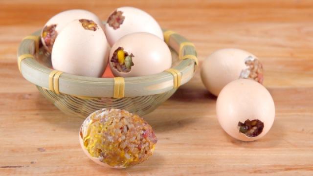 自制黄金糯米蛋,鸡蛋吃出新花样