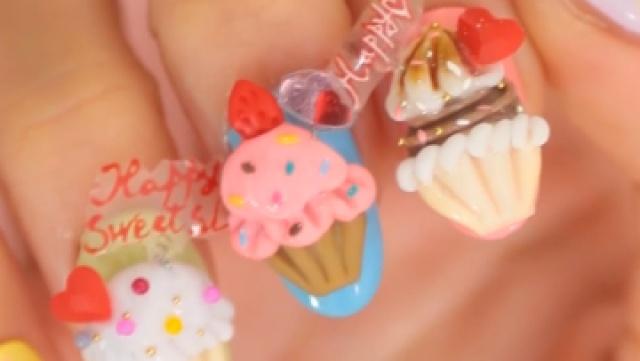 指尖的美食之纸杯蛋糕美甲