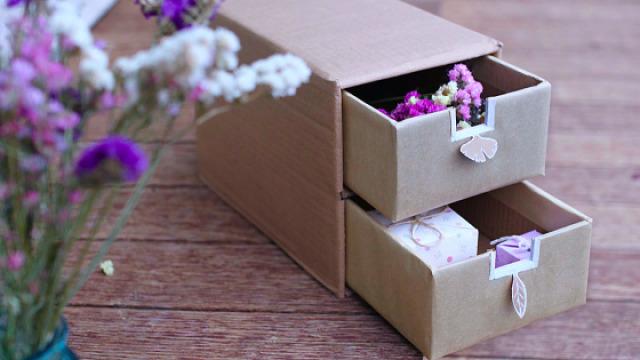 废纸盒改造文艺收纳柜,小女生最爱