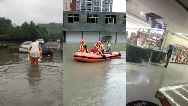 襄阳暴雨:商场楼板漏水,坐车如行船