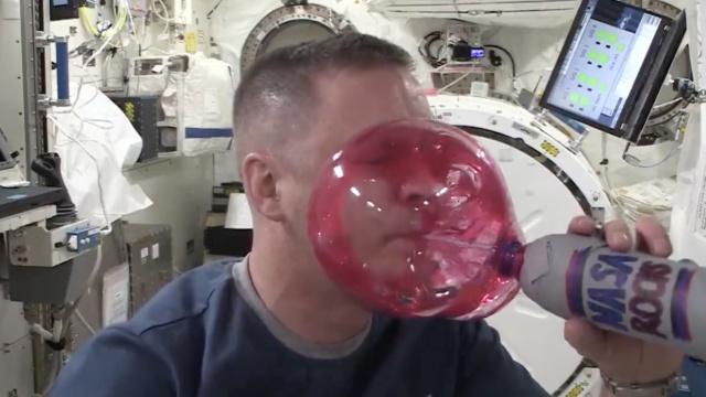 宇航员太空吹果汁:无重力泡泡扑面