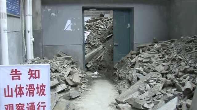 连续阴雨致滑坡,巨石砸穿服装店