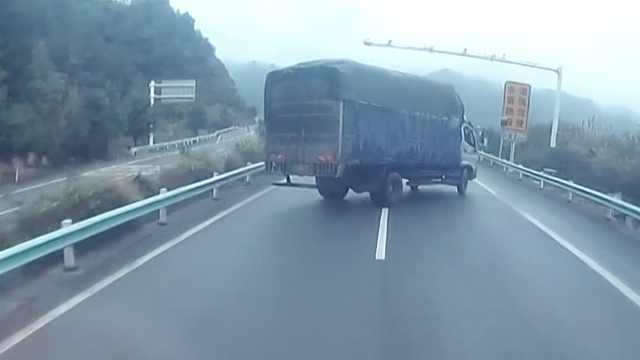 货车司机1脚刹车,蛇形甩尾左摆右晃
