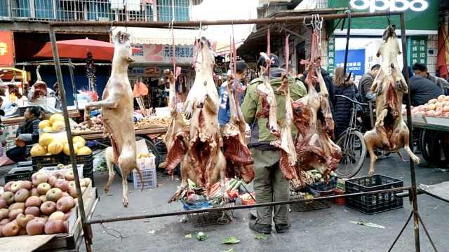 摊贩市场上卖狗肉,好坏全凭自己说
