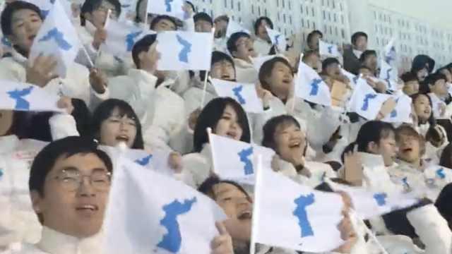 朝韩冰球联队首秀,观众挥舞半岛旗