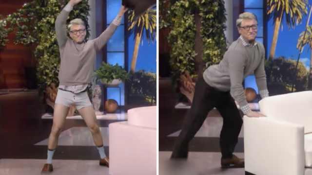 盖茨上节目遭恶搞,性感热舞撕裤子