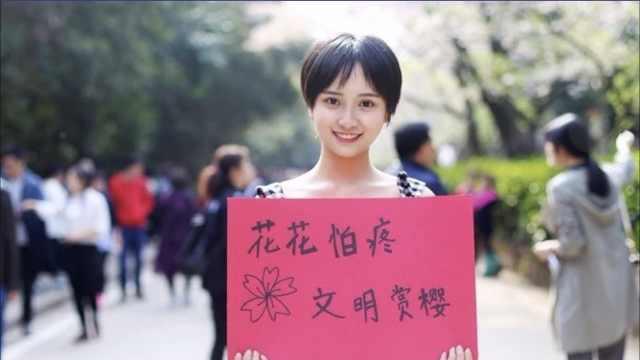 武大樱花被虐,女生举牌护樱上央视