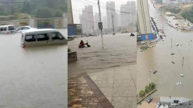 暴雨袭南昌多车被淹,街面已成