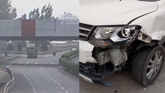 大货轮胎高速路逃跑,撞烂后车前脸
