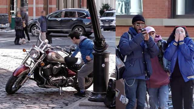 纽约街头空手道恶搞,路人完全吓懵