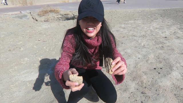 在新疆乌尔禾魔鬼城砸石头
