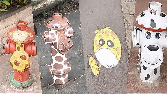 """这里的消防栓""""变身""""动物成为一景"""