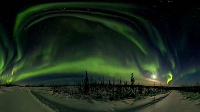 阿拉斯加极光延时摄影,像绿龙舞动