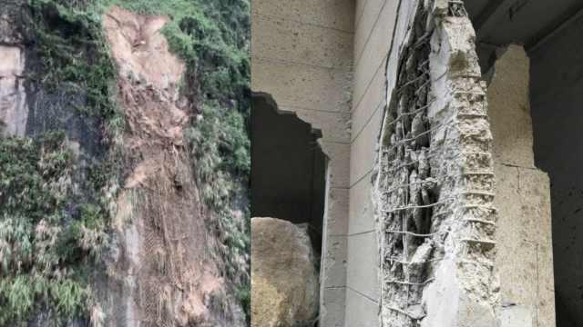 后山突然滑下巨石,砸穿房屋墙壁