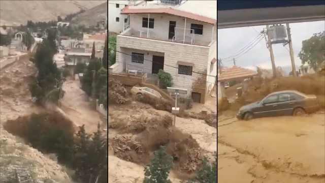 黎巴嫩村庄山洪爆发,一女子死亡