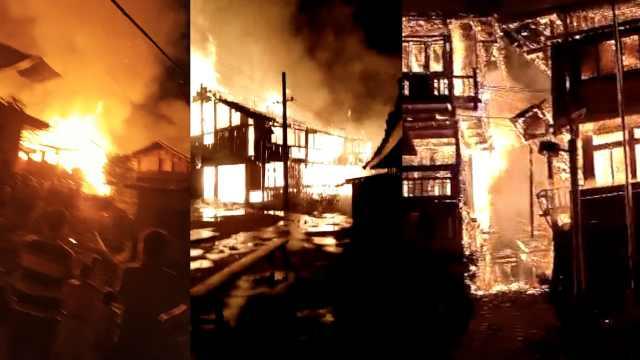 广西瑶寨凌晨发大火,12户房屋烧毁