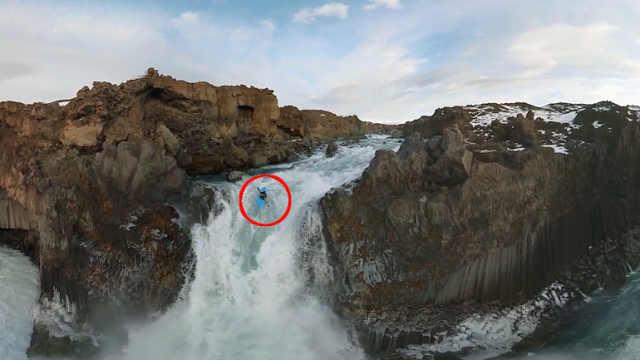 瀑布中驾驶皮划艇,疑从银河落九天
