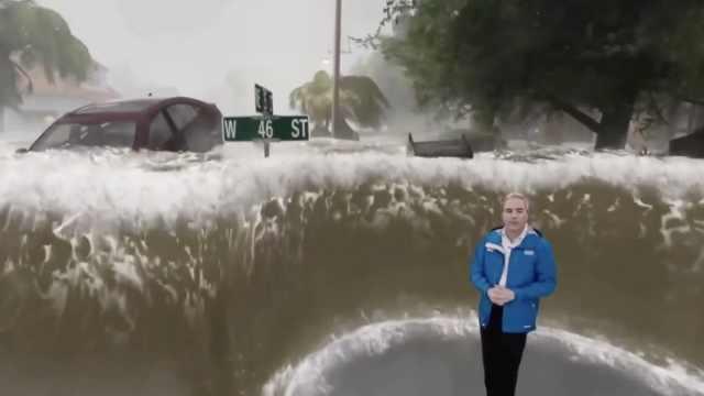 美气象预报模拟飓风过境,堪比大片