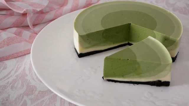 香醇抹茶波纹芝士蛋糕,高颜值甜点