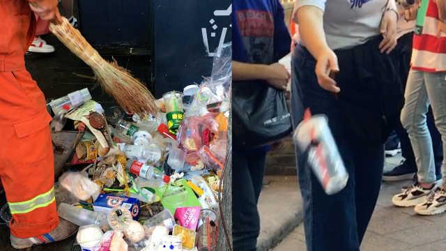 素质呢?国庆游客随手扔垃圾成小山