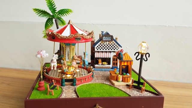 迷你娃娃屋,旋转木马游乐园