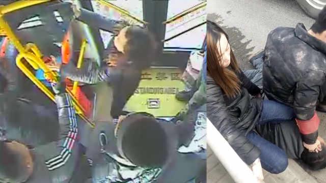 强悍女乘客一把拽住小偷,坐屁股下