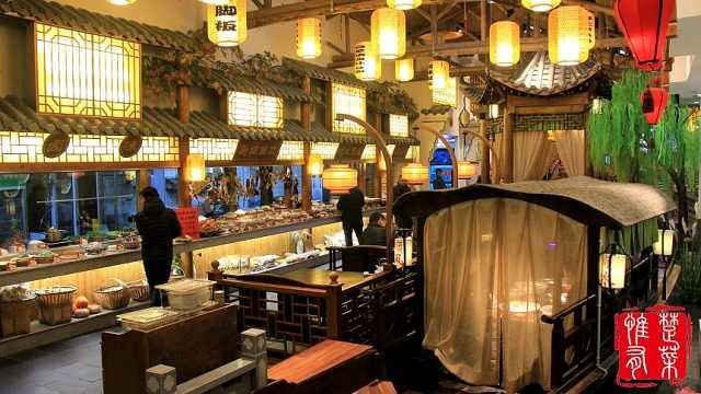 小桥流水乌篷船,江南美景装进餐厅