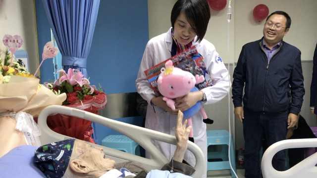 102岁老人病房过生日,医护送佩奇