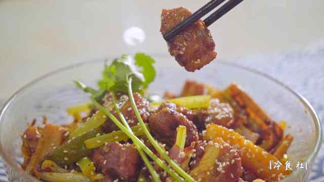 麻辣排骨香锅,超级入味好吃!