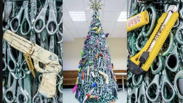 立陶宛机场圣诞树:挂满了违禁物品