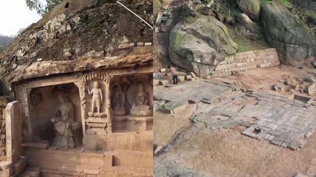 江津现晚唐寺庙遗址:天然巨石营建