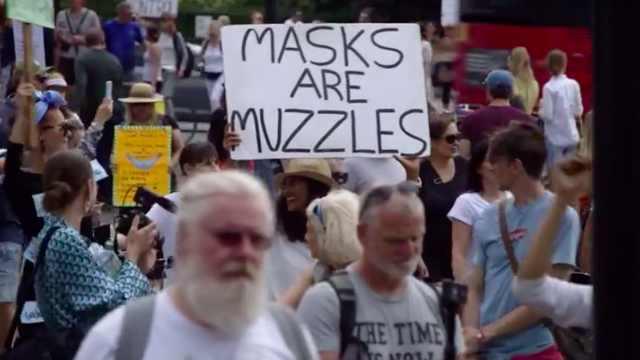不满口罩新政,伦敦再次举行大规模反口罩游行:口罩就是枷锁