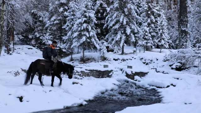新疆持续降雪快递员骑马送快递:翻山越河还有可能遇见狼