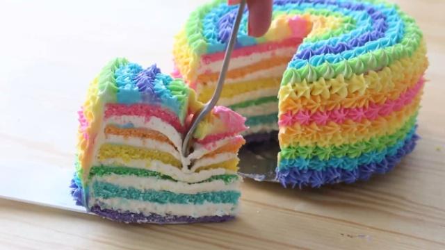 甜蜜多彩的彩虹蛋糕