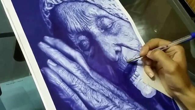 圆珠笔绘画安睡的老人,过程看呆了