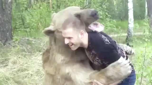 狗熊撒娇求抱抱,活像一个巨婴