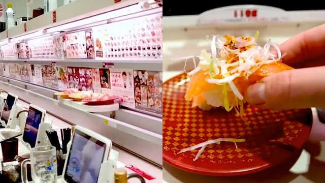 日本高速传送寿司,点餐上餐都方便