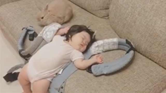 胖娃小仙女仰躺沙发边,入睡成睡神