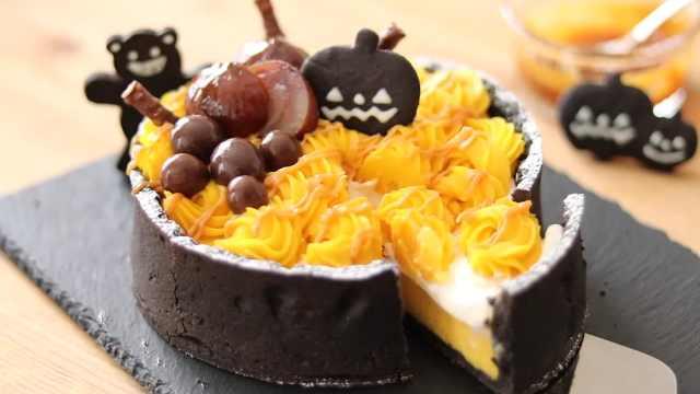 香甜南瓜奶油布丁蛋糕,高颜值甜点
