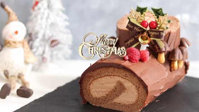 圣诞巧克力瑞士卷,应景的美味甜点