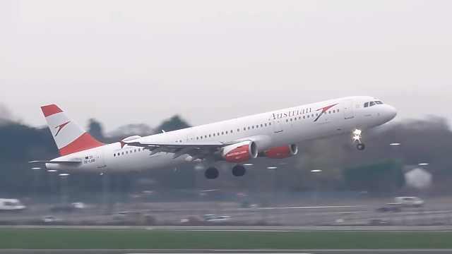 机场遇风暴,飞机降落瞬间被吹歪
