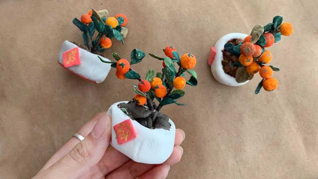 新年盆栽不用买,自己做一个就好了