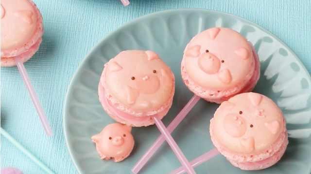 超级可爱的猪猪马卡龙棒棒糖