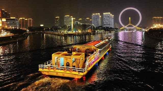 没去过海河,不知道天津夜景有多美