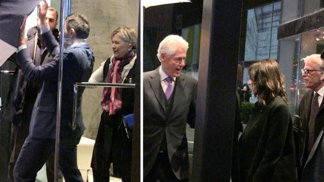 希拉里冒雨与友聚餐,克林顿喝高了