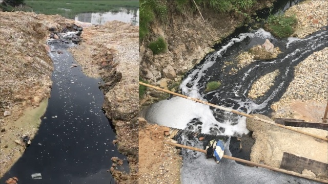 南宁一公园被排污水,人工湖如墨水
