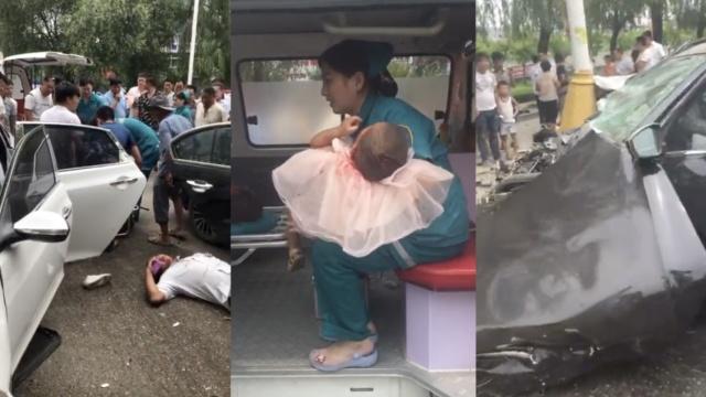 2车相撞现场惨烈,多人受伤孩子吓哭