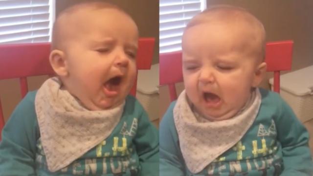 萌娃吃酸芒果,秒变可爱爆笑表情包