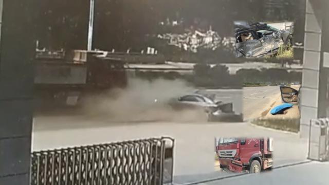 渣土车猛撞轿车,轿车被撞行数十米